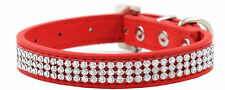 Rhinestone Dog Pet Cat Puppy Pu Leather Collar Crystal Diamonds