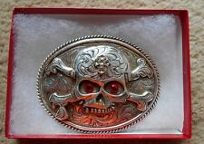 MOTORCYLE BELT BUCKLE SKULL RED EYES CROSSBONE 3X4 ROPE EDGE  BIKER BELT BUCKLE