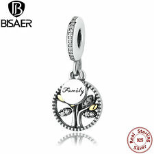 925 Sterling Silver & 14K Gold Family Heritage Dangle Charm Fit Original Jewelry