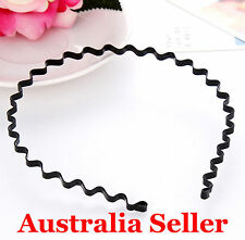 Fashion Men Women Sports Wave Hair Band Unisex Metal Black Curve Hoop Headband