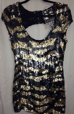 Young Fabulous & Broke. Black/Gold Sequin Top.. w Deep Scoop Back.. Size S. New