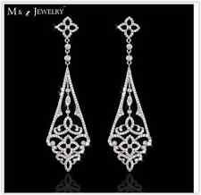 Royal Luxury Bridal Sparkling Platinum Plated Diamante Crystal CZ Drop Earrings