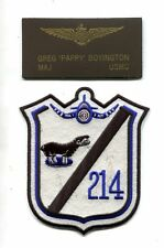 USMC WW2 VMF-214 BLACKSHEEP Fighter Squadron Patch + PAPPY BOYINGTON Name Tag