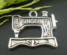 5 Plata Antigua Máquina De Coser Singer charms/pendants ~ 18x20mm ~ Llaveros (98b) Uk
