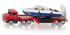 Siku Super 1613 Red Low Loader with Motor Boat Model