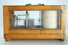 (E) Vintage Antique 1946 Post War Marine Barograph Soviet Russian USSR Wood Case