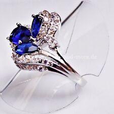 Edler Tropfen Saphir Zirkonia Damen Cluster Ring 925 Silber rhodiniert 18,4 mm