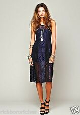 NEW Free People blue black body conscious Miracle Lace Midi Dress XS