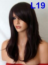 Black Plum Wig Womens Natural Fashion Party sleek Full Wig fringe Ladies Wig L19