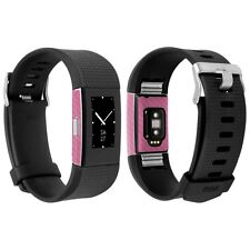 Skinomi Pink Carbon Fiber Skin+Clear Screen Protector for Fitbit Charge 2