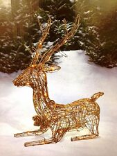 "33"" Lighted Deer Buck Grapevine Rattan Wicker Clear 50 Lights Lit Yard Display"