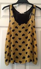 Women's One Clothing Tank Top Size S Heart Sheer Top Valentine