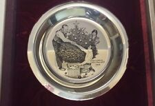 1972 FRANKLIN MINT 925 silver CHRISTMAS PLATE TRIMMING THE TREE NORMAN ROCKWELL