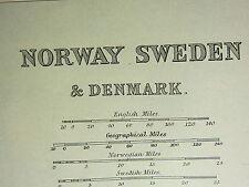 1893 ANTIQUE MAP ~ NORWAY SWEDEN & DENMARK COPENHAGEN CHRISTIANIA STOCKHOLM