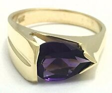 GENUINE 1.75 Carats AMETHYST RING 14k Yellow Gold *Free Shipping & Appraisal