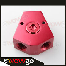 """3/8'' In 3/8'' Out Female Y-Block Fitting With 1/2"""" NPT Gauge Port Red"""