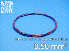 Automotive wire FLRY 0.5mm², blue color with red stripe, 1 meter length