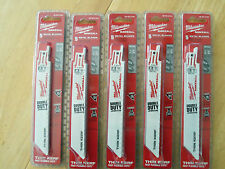 "25 NEW MILWAUKEE 48-00-5184  6""LONG 18TPI SAWZALL BLADES IN FACTORY PACKAGES"