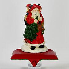 """Vintage Cast Iron WOODLAND SANTA 6"""" Stocking Hanger Christmas Tree Toy Sack"""