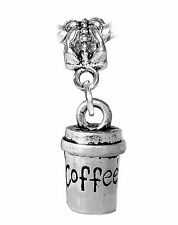 Coffee to Go Travel Cup Mug 3D Dangle Charm for Silver European Bead Bracelets