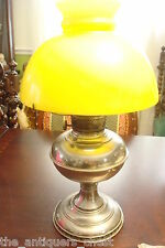 "Plume & Atwood Co. Yellow glass shade oil lamp standing 19""[4]"