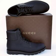 GUCCI New sz 13 G - US 13.5 Designer Web Logo High Top Mens Ankle Boots Black