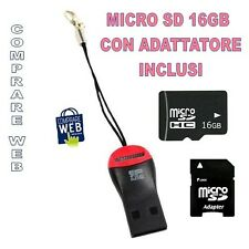 LETTORE MICRO SD PENDRIVE + MICRO SD 16GB Card Reader + ADATTATORE SD USB PC