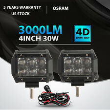 2x 4inch 30W OSRAM Led Light Bar SPOT Work Lamp 4WD SUV Offroad Driving Lamp