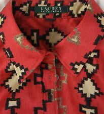 RALPH LAUREN Southwestern Print Fitted Career Dress Shirt Top M L 100% Cotton
