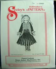 Seeley's Dollmakers Pattern CP407 - FRENCH COSTUME Dress Jacket Slip Drawers HAT