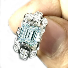 2.42ct VS1/GORGEUOUS BLUE GREEN EMERALD MOISSANITE & WHITE SILVER RING