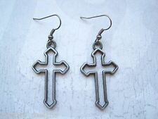 OPEN GUNMETAL BLACK CROSS Gothic Earrings Dita Madonna HALLOWEEN FANCY DRESS