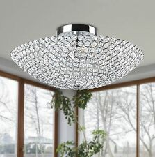 Flush Mount Contemporary Crome-Metal- Crystal chandelier