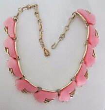 "CORO Vibrant Pink Moonglow Thermoset Gold Tone Necklace -Vintage-15"" Long"