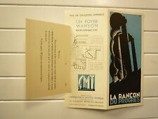 ENCART PUBLICITAIRE LA RANCON DU PROGRES CONS DE MATERIEL THERMIQUE BRUXELL 1930