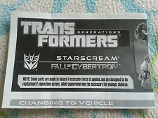 Transformers FALL OF CYBERTRON STARSCREAM INSTRUCTION BOOKLET ONLY