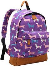 Girls Dachshund Dog Canvas Backpack Rucksack School bag College Shoulder Bag