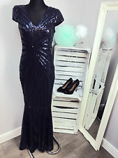 Club L Cap Sleeve Maxi Dress with Fishtail in Patterned Sequin RRP £85 AS-14/31)