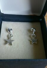 hand-made drop/dangle earrings - silver stars - girls/ladies