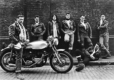 vintage old antique print photo black white bikies gang uk motorbike