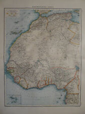 Landkarte nordwestliches Afrika, Sahara, Lithographie, Andrees 1897
