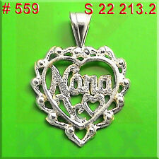# 559 Nana Heart Grandma Charm Sterling Silver .925 Pendant Necklace