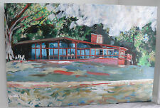 """Mid Century House Painting on Canvas 36"""" x 24"""" Rich Colors Architectural Design"""