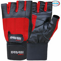 WEIGHT LIFT​​ING GYM TRAINING GLOVES LONG VELCRO STRAPS COLOR RED & BLACK