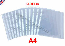 50 PACK A4 PUNCHED CLEAR PLASTIC FILING POLY POCKETS SLEEVES WALLETS FOLDERS NEW