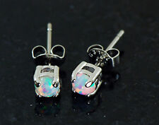 1 Pair 316L Surgical Steel W/ 4 MM White Color Fire Opal Earrings Ear Studs 20G