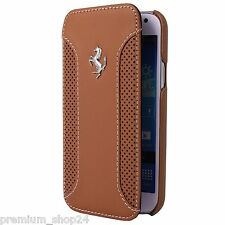 FERRARI F12 DELUXE GENUINE LEATHER SKIN CASE For Samsung Galaxy S4 I9500 Braun