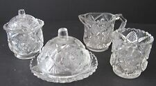 EAPG Child's Toy Glass Table Set Cambridge Fernland Snowflake & Sunburst Spooner