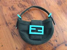 REDUCED! Fendi Mini Baguette Croissant Gray Wool With Turquoise Handbag Free Shi