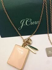 NWT J Crew LOCKET CHARM PENDANT Long FADED BLOSSOM Necklace & Bag